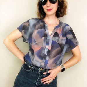 Nordstrom silk pink blue abstract print blouse XS